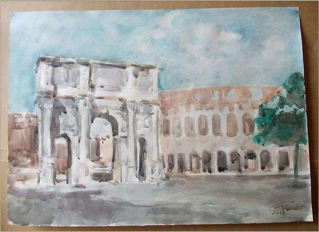 Arcul lui Constantin (Roma) - acuarela semnata (3)