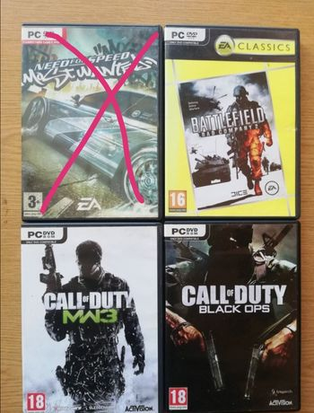Need for speed, Call of duty, Battlefield