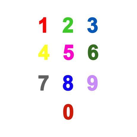 Cifra decorativa 0-9, multicolora, lemn, inaltime 15cm