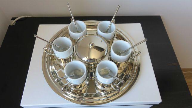 Set artizanal cafea 6 persoane - argint + porțelan