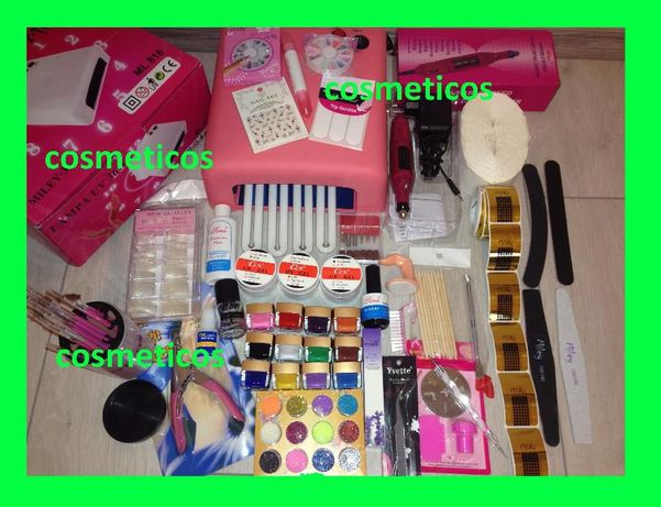Kit set manichiura unghii false- lampa UV,pila,geluri ccn,tipsuri-BEST