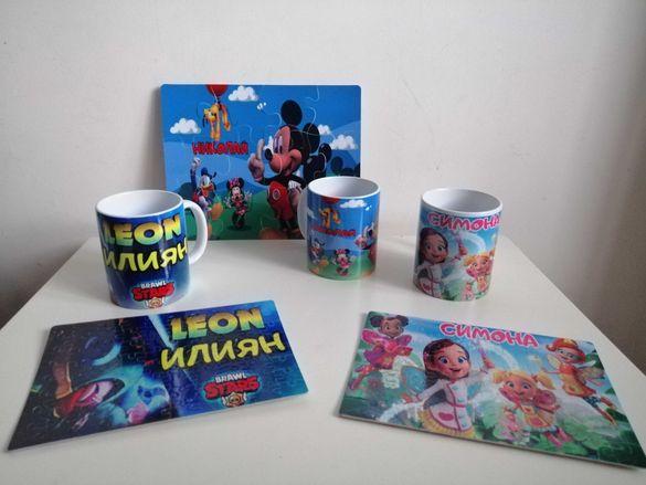 подаръчен комплект Масленка Peppa Pig Brawl Stars пъзел и чаша с име