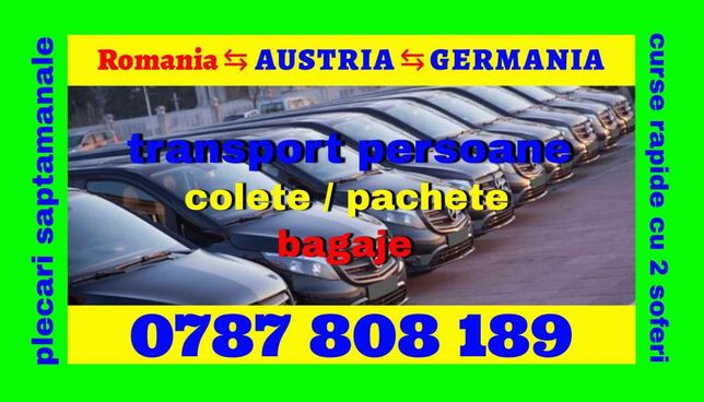 Transport persoane Romania Austria Germania 2 soferi plecari la adresa