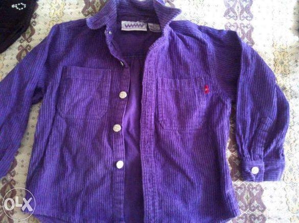 Риза - джинсова, лилава за 3-4 годишно дете