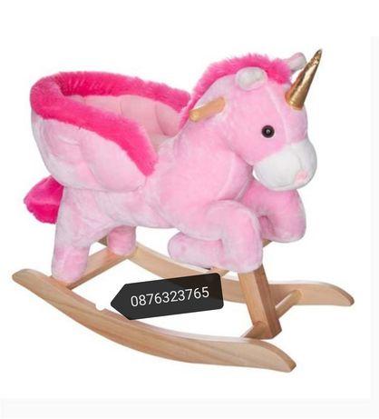 Люлеещосе детско музикално конче Еднорог детски бебешк играчки играчка