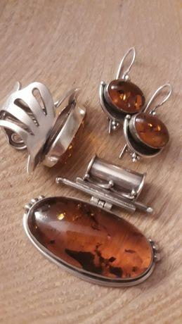 Set argint 925 cu chihlimbar baltic
