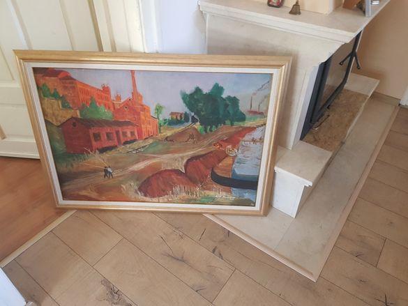 Маслена картина известния художник Петър Крумовски- старата гара Варна