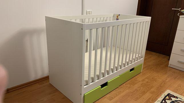 Patut bebe IKEA STUVA 60x120 cu accesorii +  saltea din fibra de cocos