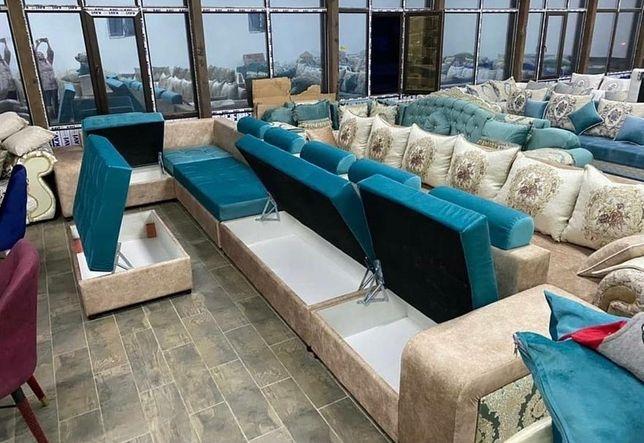 Угловой диван универсальный с ящиками для белья