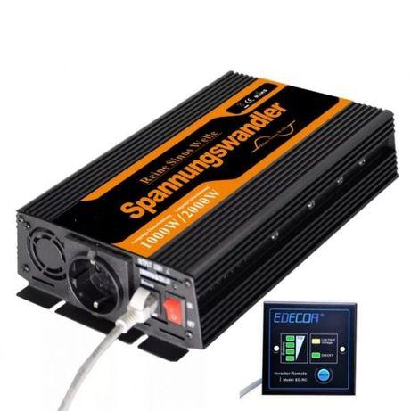 НЕМСКИ Инвертор 1000/ 2000w 12v-220v пълна синусоида солар акумулатор