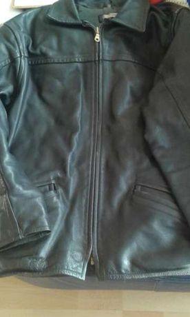 """Черно кожено яке,""""УЕСТЕНД"""",Естествена стегната кожа,телешки гьон 4кг,"""