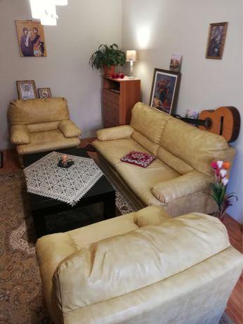 Set canapea si doua fotolii din piele