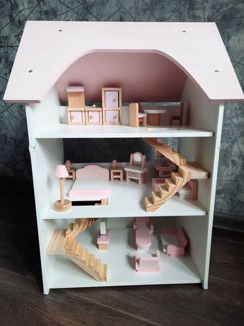 Шикарный деревянный кукольный трехэтажный домик