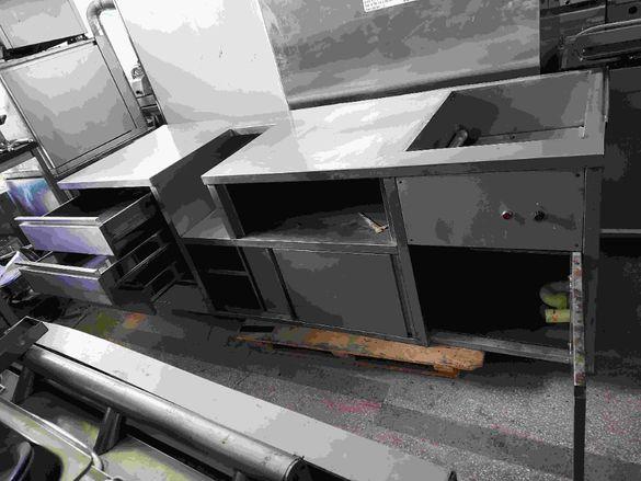 Неръждаема работна маса с врати и чекмеджета