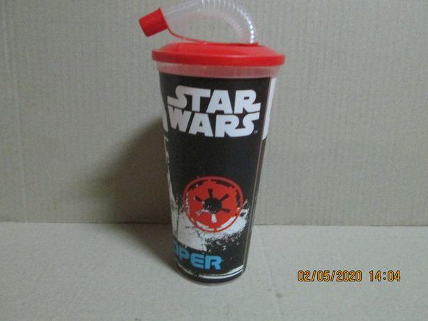 """Artefact """"Star Wars"""": pahar plastic cu pai flexibil -nou !"""