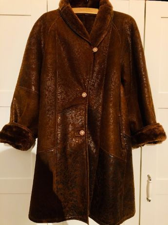 Palton unicat tip clos din piele si blana naturale, maro, masura 46