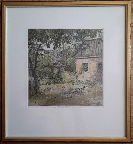 Frumoasă litografie semnată de celebrul desenator Luigi Kasimir (1881-