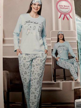 Дамски пижами плътна, еластична материя 100%памук