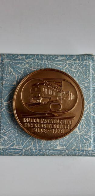 Medalie - Inaugurarea bazei de incercari feroviare Faurei 1978
