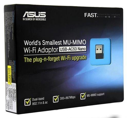 Двухдиапазонный Wi-Fi адаптер ASUS Nano USB-AC53, новый, запечатанный