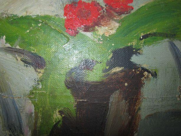 pictura ulei pe carton,vaza cu flori