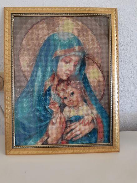 Диамантен Гоблен Девата със синеокия младенец