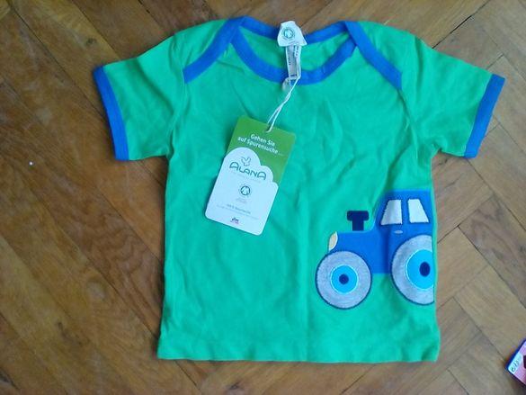Нова блузка с апликация, къс ръкав - 9-12 мес, 90 см - dm