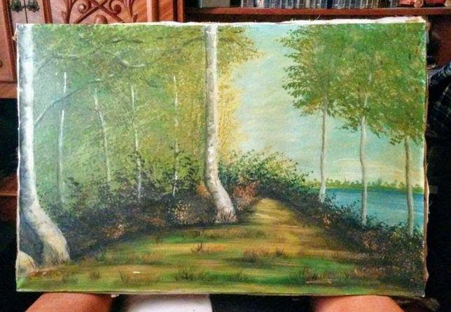 Pictura veche in ulei pe panza,neinramata,semnata