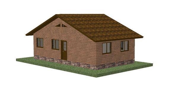 kit casa 68mp pe structura de lemn la rosu