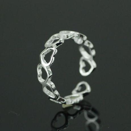 ARG312,inel argint 925,nou/marcat, eglabil,stil verigheta cu inimioare