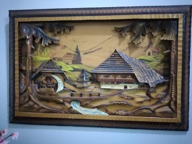 Tablou lemn sculptat 3D