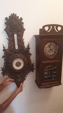 Продам винтажные часы с боем в идеальн 1902 г и барометр с термометром