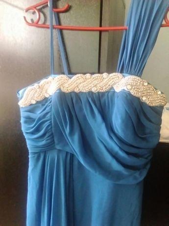 """Синя бална/официална рокля в цвят """"петролено синьо"""""""