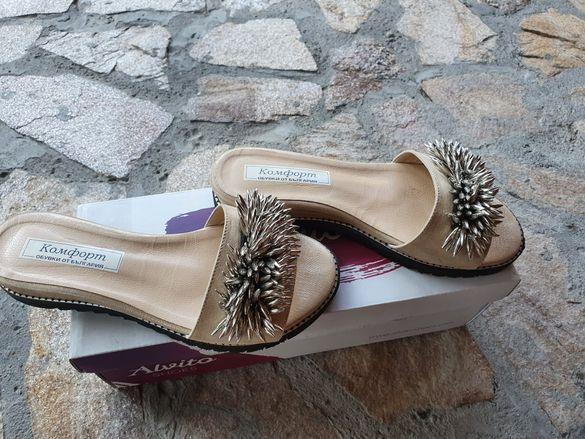 Страхотни дамски чехли. Български,естествена кожа по италиански дизайн