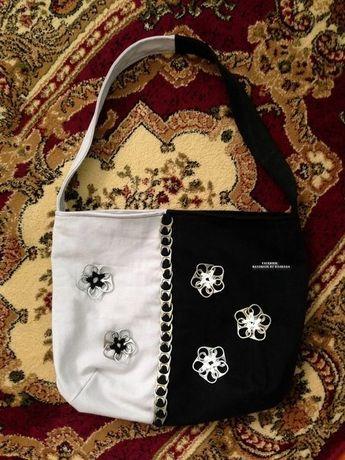Geanta blugi -alb-negru, handmade