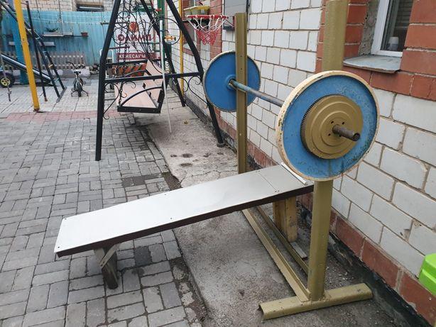 Штанга 70кг с лежаком 2 блина СССР по 25кг