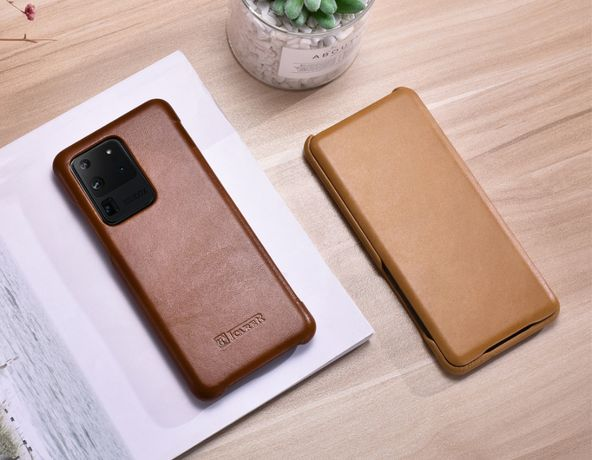 Husa Samsung S20 Ultra, S20 Plus, S20, din piele,iCarer piele naturala