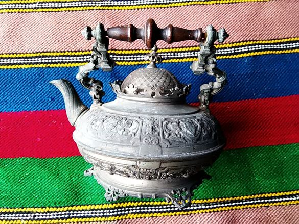 Стар бронз посребрен Френски Античен Метален чайник 1875 г. Маркиран н