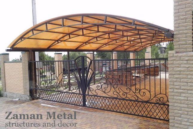Навес из поликарбоната под ключ в Алматы | Изготовление Монтаж