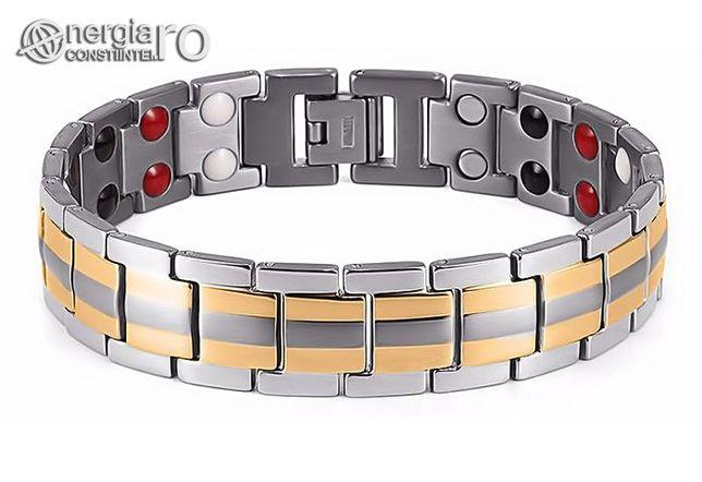 Brăţară Magnetică, Terapeutică din TITAN, placată aur 18k - cod BRA010