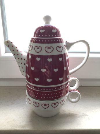 Set ceainic cu doua cesti