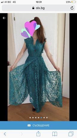 Официална рокля в маслено зелено
