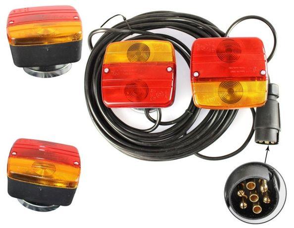 Set Lumini Spate Auto Magnetice Remorca sau Platforma, 12V, 7,5m Cablu