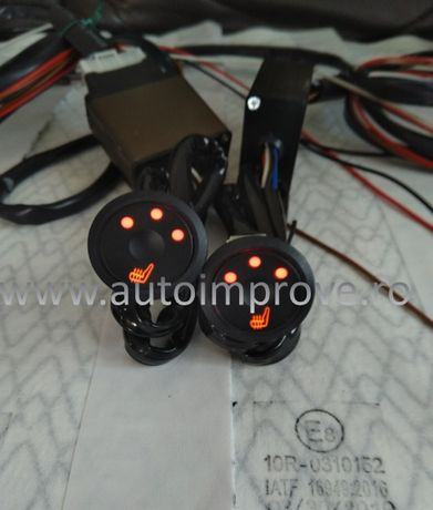 Kit Incalzire in Scaune Fibra de Carbon - buton rotund 3 trepte PUSH