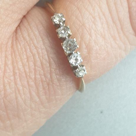Vand inel antic, aur 18 kt, diamante