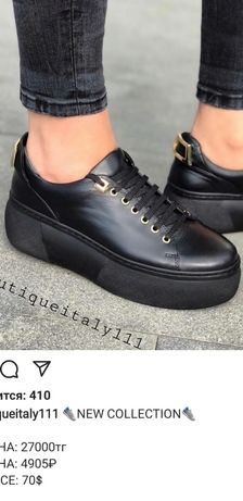 Кроссовки черные 39 размер кожа. Италия.