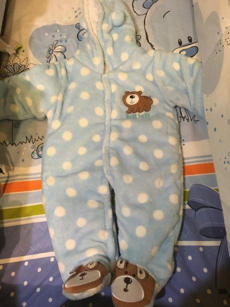 Combinezon gros de iarna bebelusi 6-9 luni Teddy Bear
