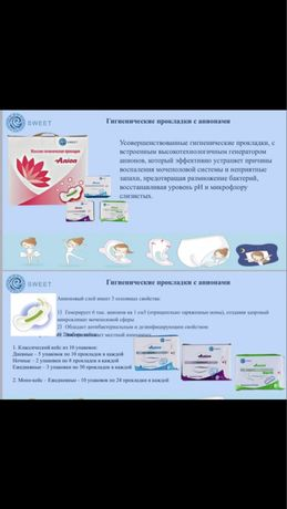 Гигиенические анионовые прокладки
