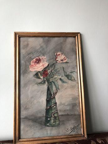 Tablou pictat inraman vintage foarte vechi ! Cadoul ideal !