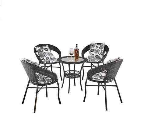 Set 4 scaune si masa din ratan interior/exterior terasa/gradina modern